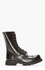 UNDERGROUND Black Leather Commando 10-Eye Steelcap Boots for women