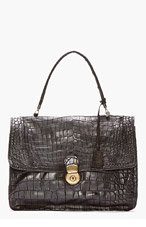CHRISTIAN PEAU Black Crocodile Skin Handbag for women