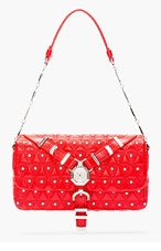 VERSACE Red Leather Quilted & Studded Shoulder Bag for women