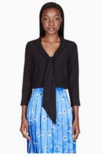 MARC JACOBS Black crepe tie-neck blouse for women