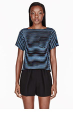 MARC JACOBS Bule silk striped boatneck pocket t-shirt for women