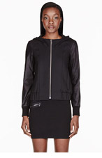 HELMUT HELMUT LANG Black Leather-sleeved Hooded Bomber for women