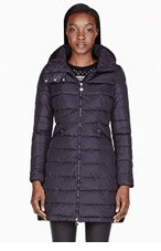 MONCLER Navy quilted down Flamme coat for women