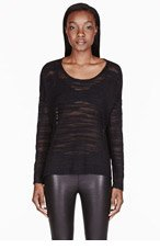 HELMUT HELMUT LANG Black Destroyed Boucl� Sweater for women