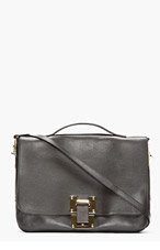SOPHIE HULME Black Leather Flap Messenger Bag for women