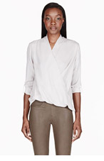 HELMUT LANG Oyster grey Cross-paneled Draping Render Blouse for women