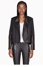 HELMUT LANG Black leather-trimmed & embossed Crash Jacket for women
