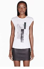 HELMUT HELMUT LANG White & black Graph Print Muscle T-shirt for women