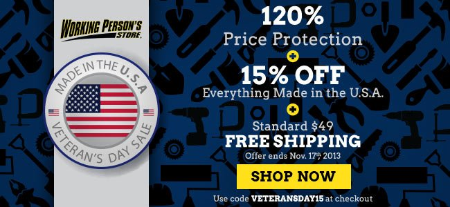 Save 15% On All American Made Products + 120% Price Protection + FREE Shipping!