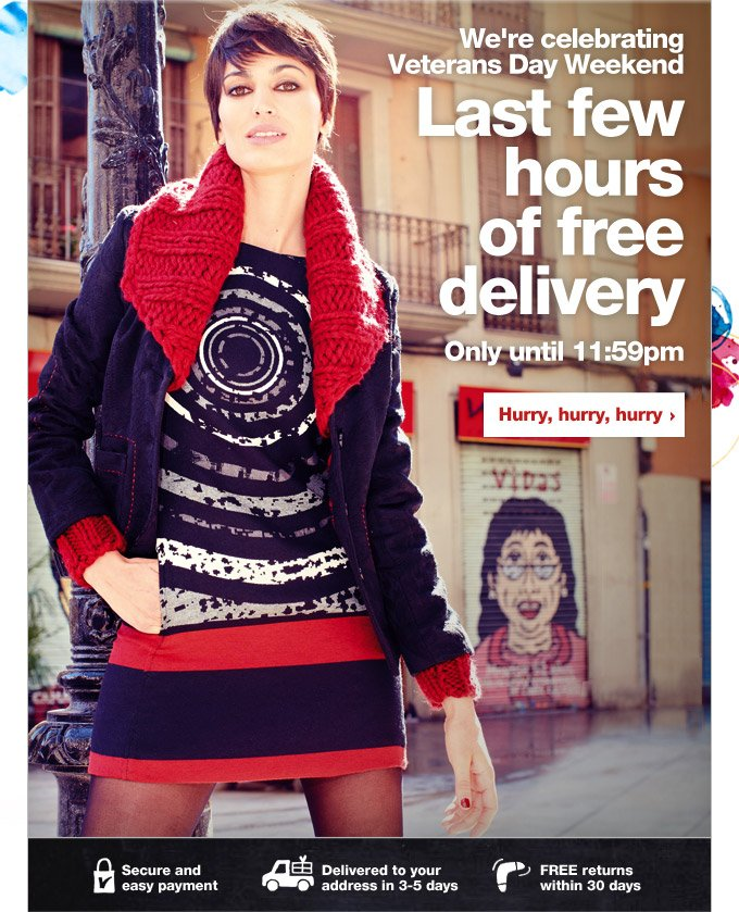 Last few hours of free delivery