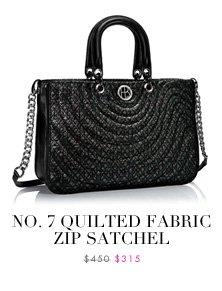No. 7 Quilted Fabric Zip Satchel