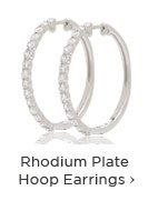 Rhodium Plate Hoop Earrings