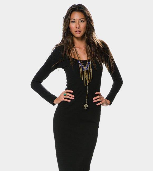 Glamorous Texture LS Midi Dress