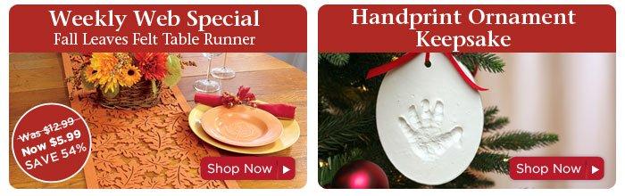 Weekly Web Special & Handprint Ornament Keepsake