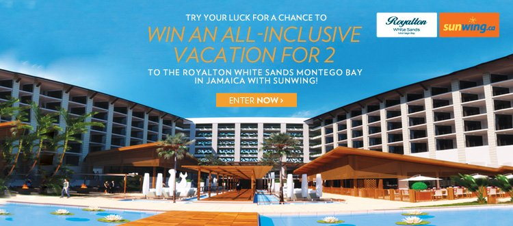 Try your luck for a chance to win a vacation for 2 to the Royalton White Sands Montego Bay Resort in Jamaica with Sunwing!