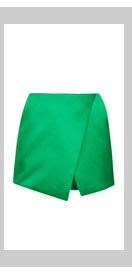 Green Luxe Satin Wrap Skort