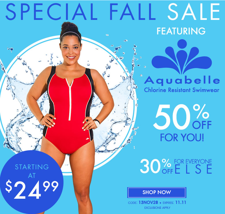 Special Fall Sale featuring Aquabelle Chlorine Resistant Swimwear 50% off - code: 13nov28 - shop now