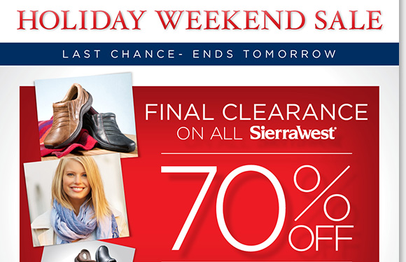 Save 70% on ALL Sierra West boots, shoes, accessories and more during our FINAL clearance sale! Plus, save on great styles from Dansko, UGG®, ABEO, ECCO and more during our Holiday Weekend Sale! Enjoy a FREE Cozy Polar Fleece Blanket with any purchase of $150 or more.* Shop now for the best selection online and in stores at The Walking Company.