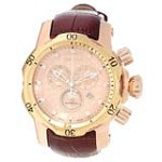 Invicta 13899 Men's Venom Reserve Rose Gold Steel Brown Leather Strap Chronograph Dive Watch