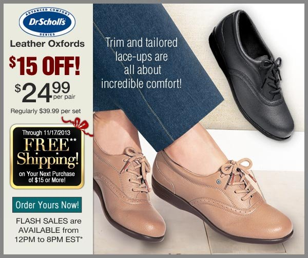 $15 OFF Leather Oxfords