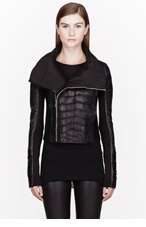 RICK OWENS Black Alligator & Python Leather Hun Biker Jacket for women