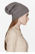 RICK OWENS Dust Grey Wool Oversize beanie for women
