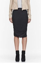 RICK OWENS Grey silk gathered Shrimp skirt for women