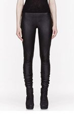 RICK OWENS Black leather overlong Leggings for women