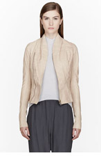 RICK OWENS Nude beige leather Princess Biker Jacket for women