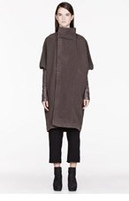RICK OWENS Grey Fleece & Leather Dolman Biker coat for women
