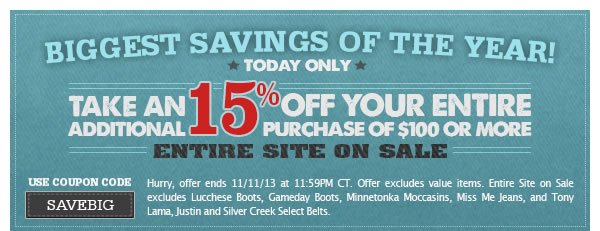 Biggest Savings of the Year Coupon