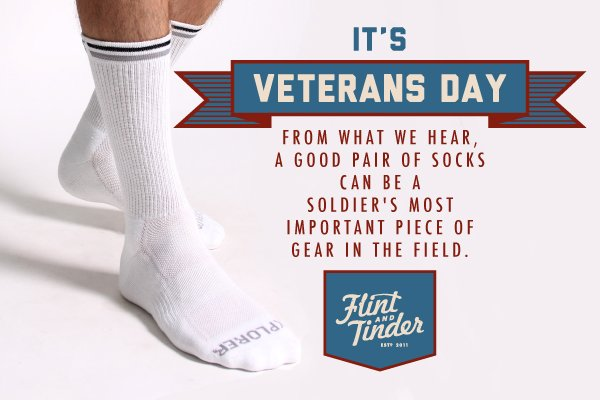 "Send FREE SOCKS to Veterans with promo code ""Thank You."""