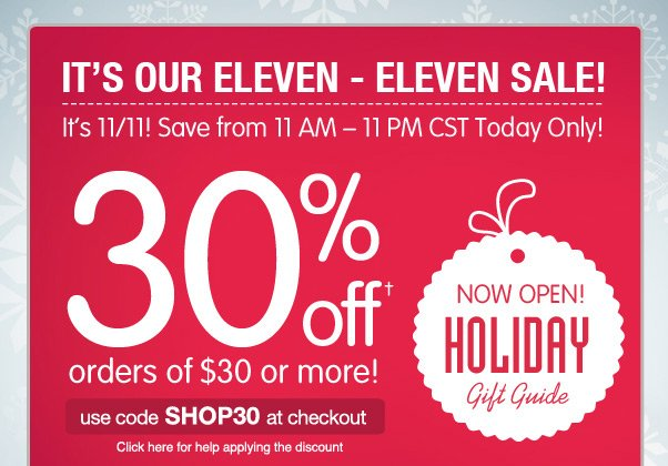30% Off $30+ - 12 Hours Only!