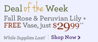 Deal of the Week Fall Rose & Peruvian Lily + Free Vase just $29.99** While Supplies Last! Save Over 30% Shop Now