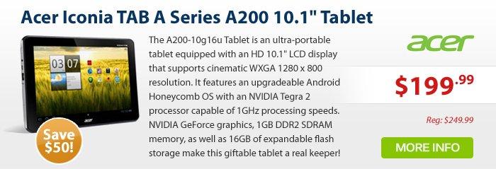 """Adorama - ACER ICONIA A200-10G16U 10.1""""16G TBL GY"""