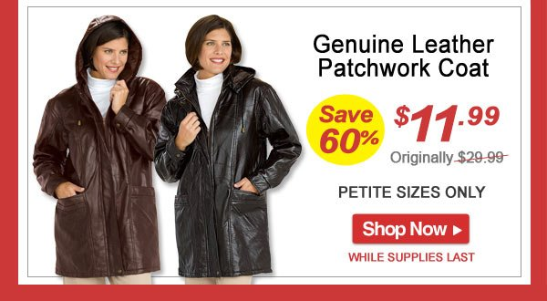 Save 60% - Genuine Leather Patchwork Coat - Now Only $11.99 Limited Time Offer - Shop Now >>