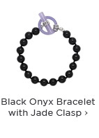 Black Onyx Bracelet with Jade Clasp
