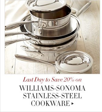 Last Day to Save 20% on WILLIAMS-SONOMA STAINLESS-STEEL COOKWARE