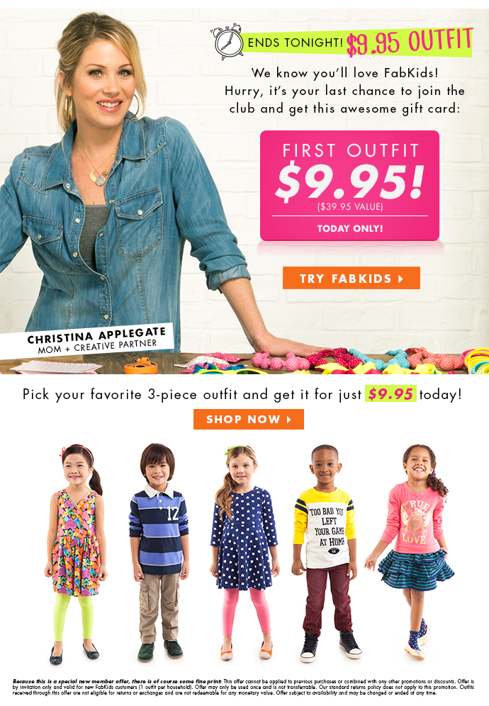 Special Offer! Get Your First Outfit For $9.95!
