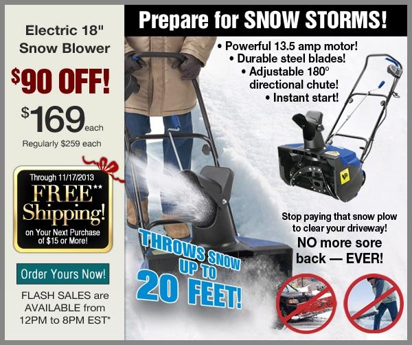 $90 OFF Snow Blower