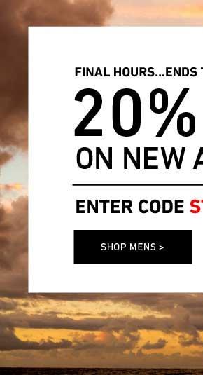 Ends Tonight: Men's 20% Off New Arrivals. Enter Code: STACHEATTACK