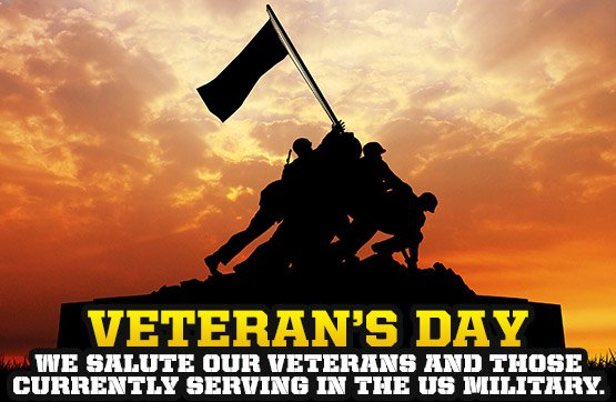 We salute our veterans and those currently serving in the US Military.