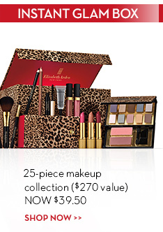 INSTANT GLAM BOX. 25-piece makeup collection ($270 value) NOW $39.50. SHOP NOW.