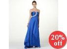 One-Shoulder Jeweled A-Line Evening Gown with Scarf