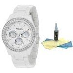 FOSSIL ES1967 Women's Quartz White Crystal Watch with 30ml Ultimate Watch Cleaning Kit