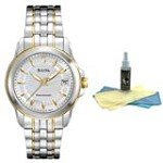 Bulova 98M112 Women's Precisionist TT Gold Plated SS MOP Dial Watch with 30ml Ultimate Watch Cleaning Kit