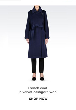 Trench coat in velvet cashgora wool