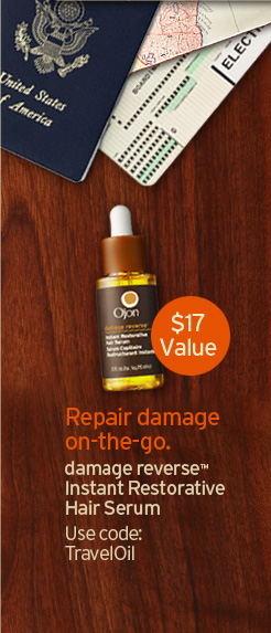 Repair damage on-the-go. $17 Value damage reverse™Instant Restorative Hair Serum Use code: TravelOil