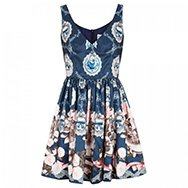RED VALENTINO - Cameo and rose print satin twill dress