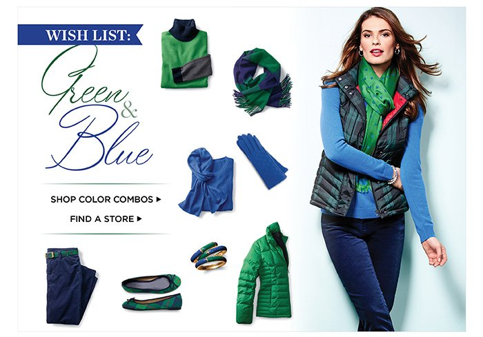 Wish List: Green and Blue. Shop Color Combos.